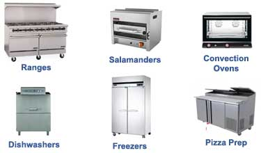ranges, salamanders, convection ovens, dishwashers, freezers, pizza ovens